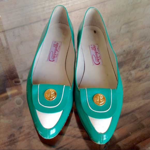 5d79baf4cec VINTAGE shoes flats Pappagallo Green leather 🦊